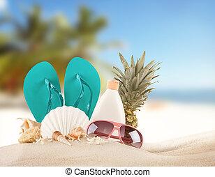 여름, 바닷가, 와, 빨강, 샌들, 와..., 포탄