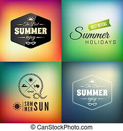 여름, 세트, calligraphic, 디자인, retro, 유행에 따라 디자인 하는, 카드