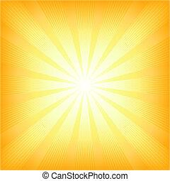 여름, 태양, 사각형, 빛 폭발
