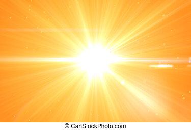 여름, 태양, 웅대한, 배경, 파열