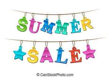 여름, 판매, 광고하는 것, 기치, 또는, 표시