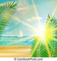 여름, 포도 수확, 바닷가, design.