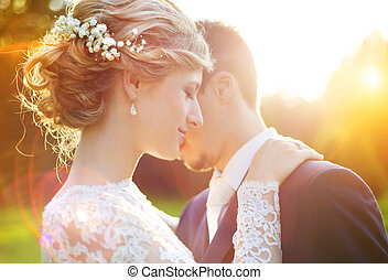 여름, 한 쌍, 결혼식, 목초지, 나이 적은 편의