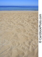 여름, 해안, 모래, 해안선, 바닷가, 원근법