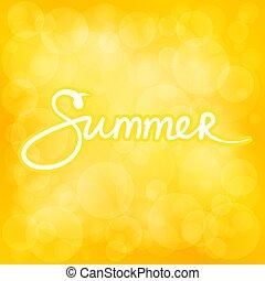 여름, bokeh, 노란 배경