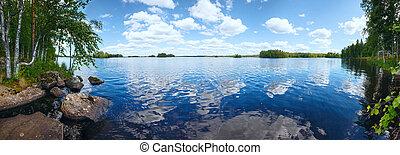 여름, (finland)., 호수, rutajarvi, 파노라마