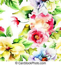 여름, seamless, 패턴, 와, 꽃