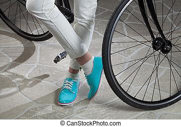 여성의 것, 다리, 와..., 자전거