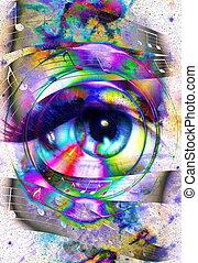 여성 눈, 공간, 색, 떼어내다, 우주의, silhouette., 저명, stars., 배경, 음악, 연설자, contact., 오디오