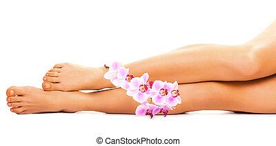 여성, 다리, 와, 난초, 꽃, 백색 위에서