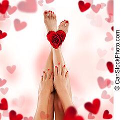 여성, 다리, 와..., 손, 와, 장미, 와..., 심혼
