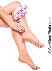 여성, 다리, 와..., 핑크, 매니큐어, 와, 난초, 꽃