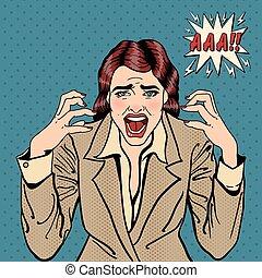 여성 비즈니스, 삽화, 벡터, 전당 잡히다, 강조된다, screaming., 좌절시키는, art.