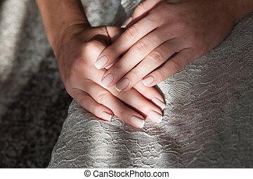 여성 손, 와, 매니큐어
