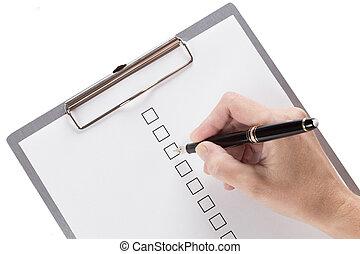여성 손, 충분, a, 문서, 붙이는, 에, 그만큼, 클립 보드