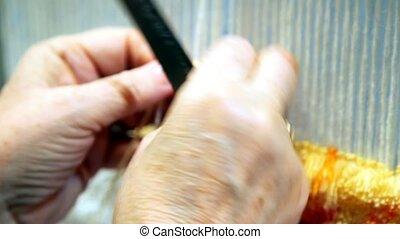 여성 손, 회전시킴, 통하고 있는, 길쌈, 직조기, terry, 직물