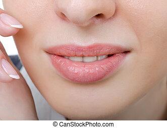 여성, 음탕한, 입술, 클로우즈업