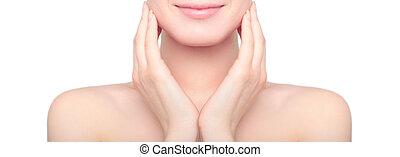 여성 초상, 즐기, 고립된, 피부, 여성, 백색 배경, 걱정, 날씬한, 아름다움