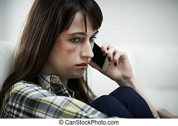 여성, 희생자, 의, 국내의 악용, 전화, 후원 그룹