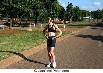 여성, runner.
