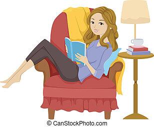 여아 독서, 책