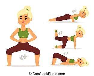 여자, 가정, 연습, 벡터, 운동시키는 것, 집의, 적당, 성격, 훈련, 코치, 건강한 생존, 와...,...