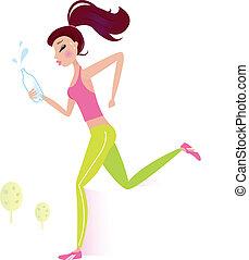 여자, 건강한, 달리기 물, 조깅, 병, 또는
