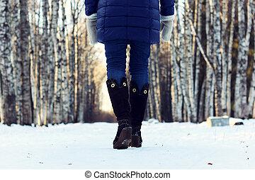여자, 걷다, 공원, 겨울, 눈, 밀려서
