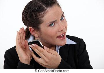 여자, 고투하는 것, 들을 것이다, 전화
