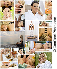 여자, 광천, &, 마사지, 몸을 나른하게 하는, 건강한 생활양식