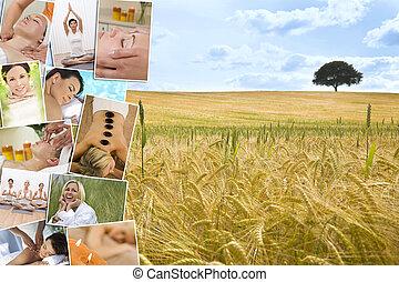 여자, 광천, 마사지, 몸을 나른하게 하는, 제자리표, 건강한 생활양식