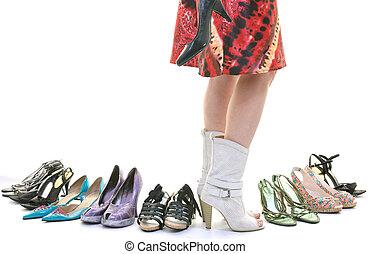 여자, 구매, 구두, 개념, 의, 선택, 와..., 쇼핑, 고립된, 백색 위에서, 배경, 에서, 스튜디오