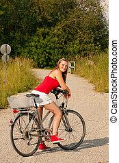 여자, 구, 그녀, 자전거, 에서, 여름