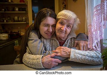 여자, 그녀, 나이 먹은, granddaughter., 성인, 초상