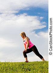 여자, 그녀, 뻗는 것, 중년의, 40s, 옥외, 운동