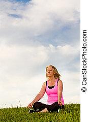 여자, 그녀, 중년의, 명상하는 것, 40s, 옥외, 운동