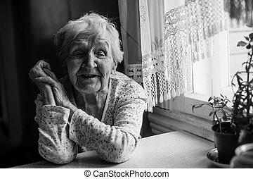 여자, 그녀, 착석, 나이 먹은, portrait., 검정, 백색, home.