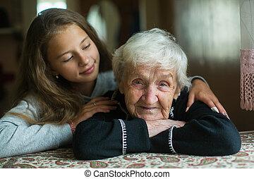 여자, 그녀, granddaughter., 거의, 할머니, 소녀, 나이 먹은