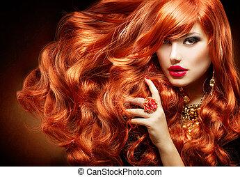 여자, 꼬부라진, 길게, 유행, hair., 초상, 빨강