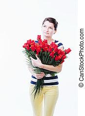 여자, 꽃, 꿈꾸는 듯한
