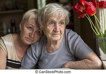 여자, 늙은, 와, 그의 것, 성인, 딸