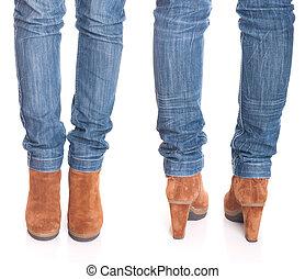 여자, 다리, 에서, jeans