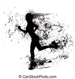 여자, 달리다, 실루엣, 고립된, 페인트 비말, 흑인의 소녀, 스포츠