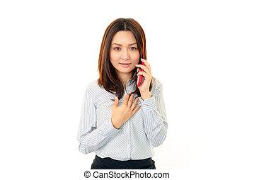 여자 미소, 와, a, 휴대 전화