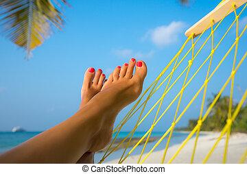 여자, 발, 에서, 해먹, 바닷가에