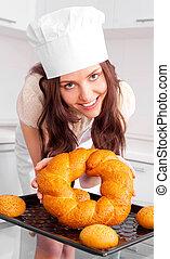 여자, 빵 굽기, bread