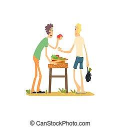 여자, 사과를 매출하는, 시장