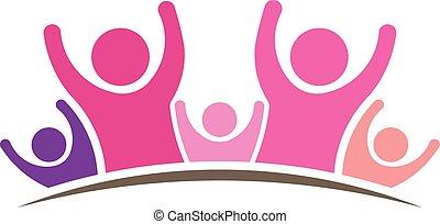여자, 사람, logo., 문자로 쓰는, 의, 5, 사람