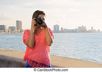 여자, 사진사, 카메라, 관광객, 그림, 사진