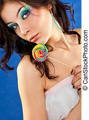 여자, 사탕 과자